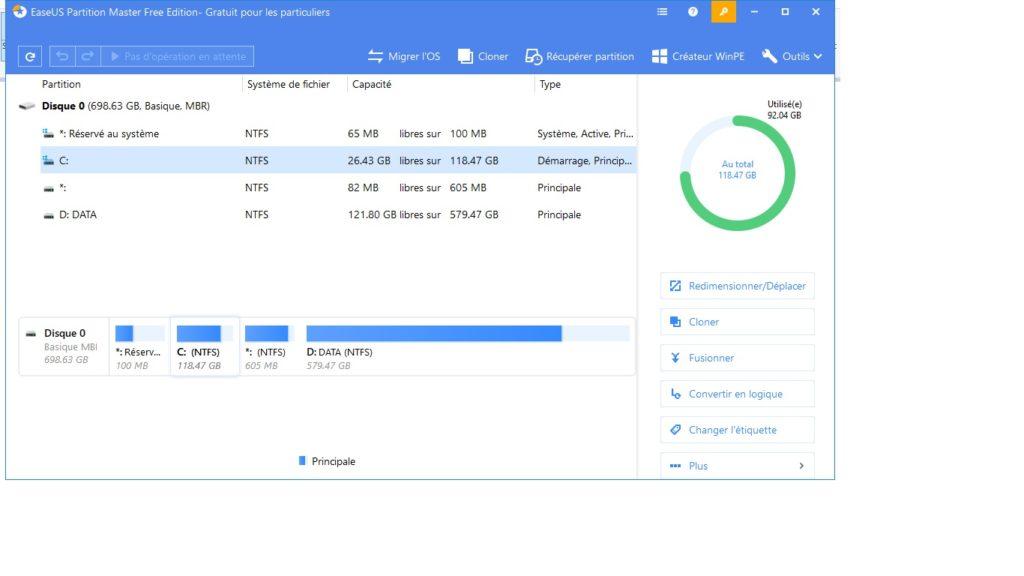 logiciel de partitionnement EaseUS partition