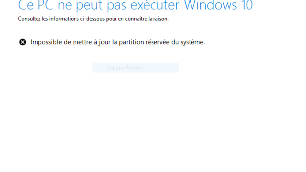 message d'erreur partition reservée systeme